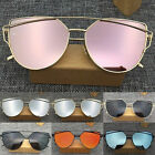 Women's Glasses Metal Flat Lens Vintage Fashion Mirrored Oversized Sunglasses RA