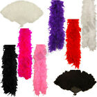 SOFT FEATHER BOA 50G OR FAN SHOWGIRL FANCY DRESS BURLESQUE HEN NIGHT FLAPPER
