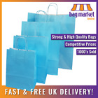 Light Blue Kraft Twisted Handle Paper Carrier Bags! | Strong/Gift/Fashion/Shop