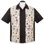 Steady Clothing Man Vintage Rockabilly Bowling Shirt - Vegas Lights Panel