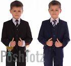 Boys Suits Fitted Wedding Pageboy Suit 5pc Black, Navy Blue, Poshtotz