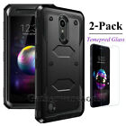 Hybrid ShockProof Protective Case Cover + Tempered Glass Screen Protector For LG