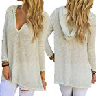HOT Women Girls Blouse Hooded Long Sleeve Ladies T Shirt Loose Casual Knit Tops