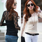 Ladies Womens Long Sleeve Lace Tops Casual T-Shirt Tops Blouse Slim