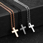 Small Smooth Cross Black/Rose Gold GP Silver Stainless Steel Pendant Necklace