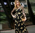 2017 New Fashion Women Long Sleeve Embroidered Cranes Vintage Tulle Long Dress
