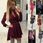 Womens Loose Long Sleeve Plaid Shirt Top Ladies Party Dress Romper Jumper Blouse