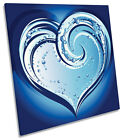 Abstract Blue Heart Love CANVAS WALL ART Picture Square Print