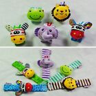2 PCS Infant Baby Kids Cute Animal Hand Wrist Bells Foot Sock Rattles Soft Toys