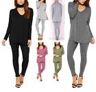 WOMENS CHOKER NECK LOUNGEWEAR TRACKSUIT LADIES TOP & LEGGINGS SET NIGHTWEAR SUIT