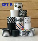"10-13YDs Mixed7/8""&1""Grosgrain Ribbon Bow Black & White Halloween Scrapbook Lot"