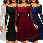 Women Long Sleeve Lace Floral Mini Dress Cocktail Evening Party Dress Ball Gown