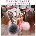 Girl's Tassels Rabbit Fur Ball Plush Ring Stand Mirror Plating Soft Case Cover