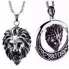 Men's Stainless Steel Fashion Silver  Lion Head Chain Necklace Pendant Gift