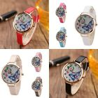 Womens Ladies Butterfly Flower Analog Quartz Leather Wrist Watches
