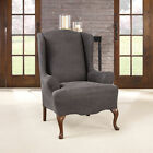 Sure Fit Ultimate Stretch Polyester Faux Leather Box Wing Chair Slipcover