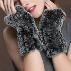 Women's Real Soft Rex Rabbit Fur Winter Warm Fingerless Gloves Mittens Best