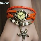 Vogue Lady Girl Bronze Starfish Genuine Leather Band Brecelet Quartz Wristwatch
