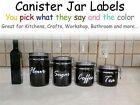 Custom Kitchen Jar Personalized Canister Vinyl Labels Decals