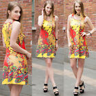 Fashion Women Ladies Colorful Print sleeveless Evening Party Cocktail Mini Dress