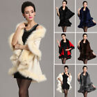 2017 New Coming Women Cloak Big Faux Fur Shawl Knitted Warm Jacket Cape Outwear