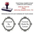 personalised bespoke handmade by scroll self inking / rubber stamp cards crafts