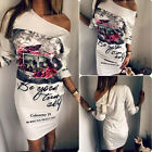 Fashion Women's Print Loose Off Shoulder Mini Dress Cocktail Party Casual Dress