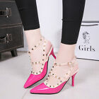 Womens Fashion Rivets Belt Buckles Ankle Pointed Stilettos Party/Wedding Shoes