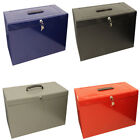 Lockable Foolscap Metal File Box Filing Storage inc. 5 Free Suspension Files