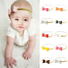 1/4 Pcs Chic Baby Toddler Kids Girls Faux Leather Bow Gold Hairband Headband