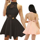 Sexy Women Sleeveless Lace Backless Evening Party Wedding Cocktail Mini Dress