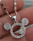 18K White Gold Filled - Mickey Mouse Topaz Zircon Hollow Party Pendant Necklace image
