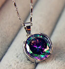 18K White Gold Filled- 12MM MYSTICAL Rainbow Topaz Round Pendant Women Necklace image