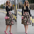 USA Womens Retro Floral High Waist Pleated Party A-Line Midi Skater Skirt Dress