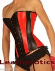 Red Black Overbust Leather Corset 1252RB