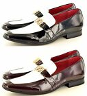 Mens Black Burgundy White Funky Pointed Toe Brogue Patent Shoe UK 7 8 9 10 11 12