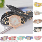 US Fashion Women Girl Quartz Analog Weave Leather Bracelet Band Punk Wrist Watch image