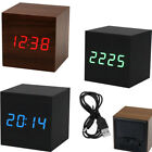 Wood Cube Digital LED Alarm  Clock  Wooden Style Room Temperature Voice Control