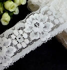 "Semi-White / Offwhite Stretch Lace Elastic Lace Trim 1-3/4"" / 44mm width L644"