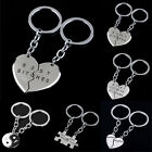 Silver Plated Best Friend Best Bitches Keychain Charm Pendant Couple Keyring Set