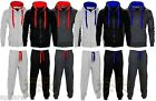 Kids Contrast Jogging Full Tracksuit Set Fleece Hoodie Top Bottoms Joggers Gym