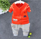 2pc Baby clothes Toddler kids boys girls cadigan+ pants outfits gentleman cat