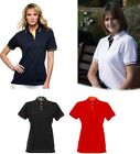 WOMENS POLO T SHIRT WHITE NAVY BLUE BLACK RED YELLOW 10 12 16 S M XL LADIES