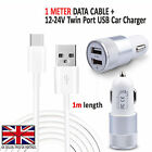 For LG G6 - In Car Fast Dual Charger PLUS  1x Type C 3.1 Charging Cable New