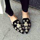 Womens Summer Insect Embroidery Mules Pointed Toe Comfy Sole Slides Shoes