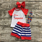 Girls Miss Independent 4th of July Patriotic Shorts Outfit Necklace Bow Set 2T-7
