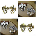 4 x Tibetan Style Dragon Charms Pendants Antique Silver or Bronze 35x27mm