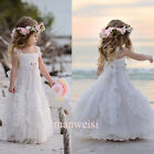 Baby Girl Flower Dress Pageant Strap Gowns Princess Party Birthday Applique Cute