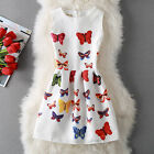2017 Summer Women's Colorful Butterfly Printing Sleeveless A line Party Dress