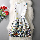 Summer Women's Princess Style Colorful Butterfly Sleeveless Party A line Dress